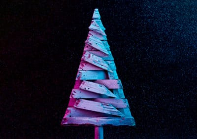 Christmas tree decoration in vivid neon colors.