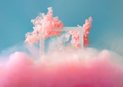 Abstract pastel pink color paint with pastel blue background..