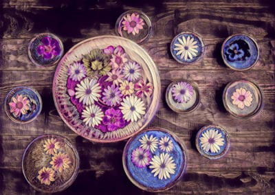 Beautiful drawing of colorful flowers floating in water
