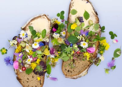Bread buttered in flower decoration
