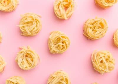 Arrangement of uncooked pasta